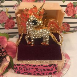 Betsey Johnson Rhinestone Unicorn 3 D Animated Necklace /brooch 4 Inch On18 Chain Gift Boxed New for Sale in Macedonia,  OH