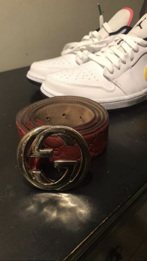 Authentic Gucci Belt fit for waist 30-34/ Jordan 1 low size 9.5 for Sale in Feasterville-Trevose, PA