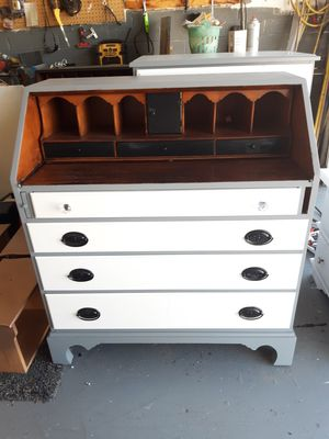Lovely Grey White Antique Maplewood Secretary Desk and Dresser Chest ! DELIVERY AVAILABLE ! for Sale in Glendale, AZ
