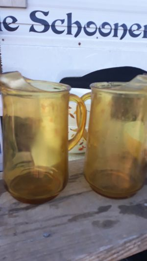 2 amber glass pitchers for Sale in Abilene, TX