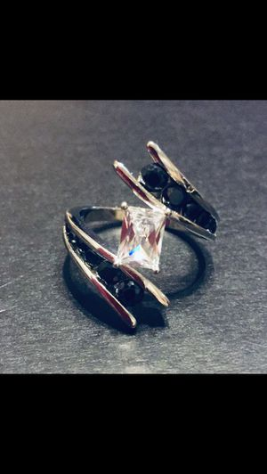Sterling silver ring with black and white cz stones for Sale in St. Cloud, FL