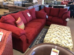 Red Microfiber Sofa and Loveseat Set for Sale in Glendale, AZ