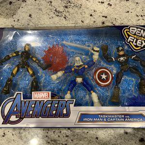 New Marvel Avengers Bend and Flex Iron Man, Captain America, Taskmaster Figures for Sale in Las Vegas, NV