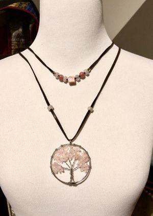 Rose crystal quartz tree of life necklace set for Sale in Warrenton, VA