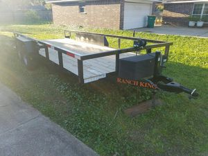 18ft Ranch King Heavy Duty trailer, can hold 6400 lbs, clean title, ramps included , hitch lock and tool box plus winch! Electric breaks. for Sale in BROOKSIDE VL, TX