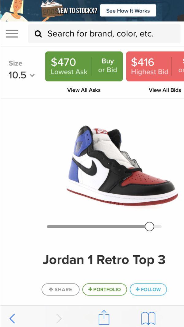 Jordan retro 1s top 3 size 10.5