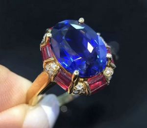 3Ct Oval Cut Simulant Ruby Blue Sapphire Halo Diamond Ring Silver Rose Gold Fnsh for Sale in Hialeah, FL