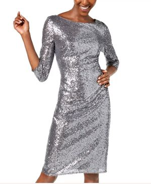 Adrianna Papell Women's Dress Silver USA Size 16W Plus Sheath Sequin $179 for Sale in Riverside, CA