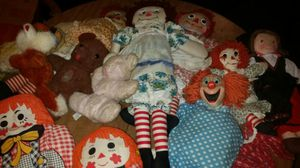 One dozen vintage dolls, with Raggedy Anne, Bozo, more for Sale in Grosse Pointe, MI