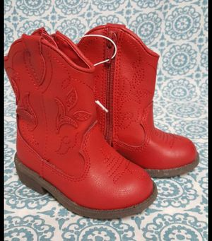 Cat & Jack Red Arizona Side Zip Cowboy Boots Toddler Girl's Size 4 and 5 available for Sale in Orlando, FL