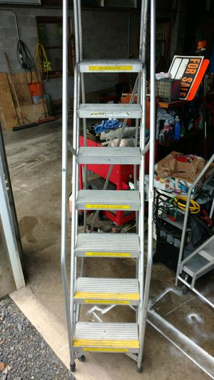 7 foot 300 pound rated stepladder with rails in on wheels for Sale in Linden, PA