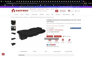 Back seat inflatable mattress for Sale in Corona, CA