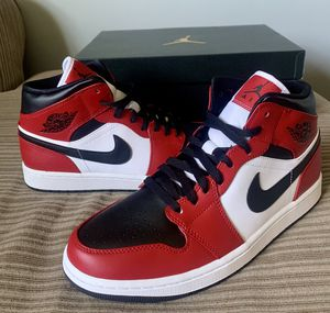 "Air Jordan 1 mid ""Chicago Black Toe"" size 10.5 and 13 for Sale in North Attleborough, MA"
