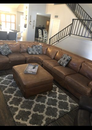 Arizona Leather Sectional Couch with Ottoman for Sale in Peoria, AZ