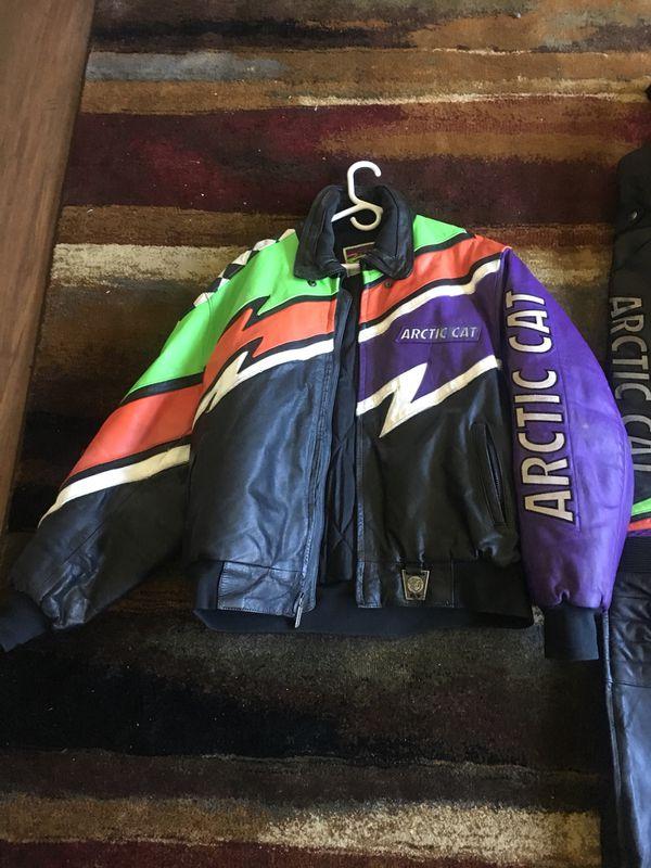 Men's leather snowmobile suit