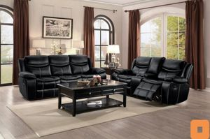 Bastrop Black Leather Gel Double Reclining Sofa and Loveseat for Sale in Austin, TX