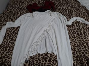 Size large oversized white fringed shirt for Sale in Merced, CA
