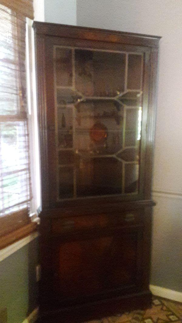 My grandmothers Edwarian vintage corner china cabinet