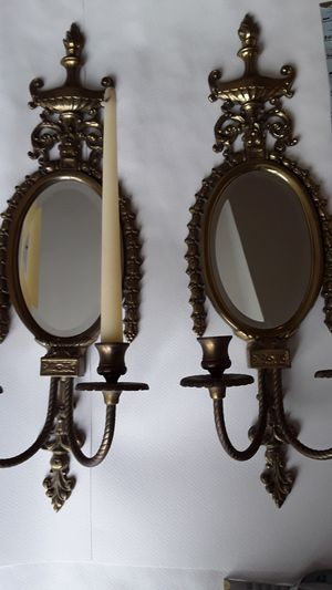 Brass Candelabras (2) Wall Sconces Mirrored Solid Perfect for Sale in Merrick, NY