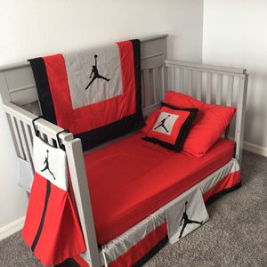 Crib / Toddler Bed With Jordan Blanket Set. Mattress Not Included. for Sale in Bradenton, FL