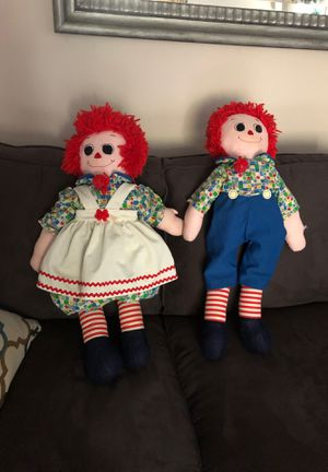 Raggedy Ann and Andy dolls handmade 30 inches tall for Sale in Monroe, CT