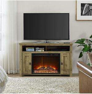 Barn Wood Design Electric Fireplace TV Console up to 50 inches TV for Sale in ROWLAND HGHTS, CA