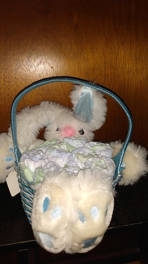 Blue Bunny Basket filled with newborn diapers rolled to look like flowers for Sale in undefined