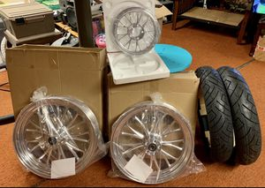 Harley Davidson Billet Wheels, pulley, tires NOW ROTORS TOO!! Brand new. for Sale in Baltimore, MD