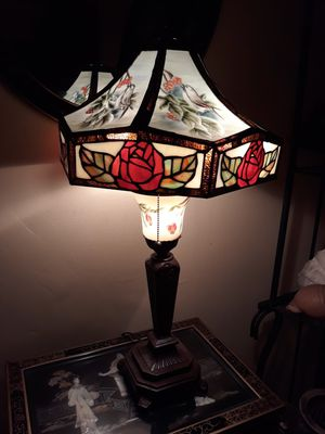Tiffany Antique Stained Glass Lamp, Nightingale Roses for Sale in Los Angeles, CA