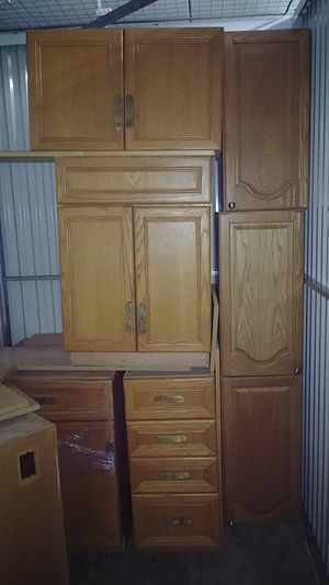 10 kitchen cabinets ,solid oak for Sale in Baltimore, MD