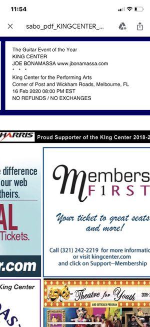 Joe Bonamassa tickets (2) for Sale in Jupiter, FL