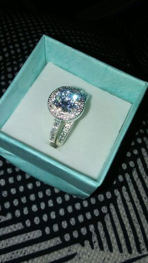 STERLING SILVER RING SET WITH RHODIUM FINISH FOR MORE SHINE...SIZE 7 for Sale in Boston, MA