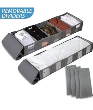 Under Bed Storage Bags Container with Adjustable Dividers [2Pack] Breathable with Clear Window for Sale in Chicago, IL