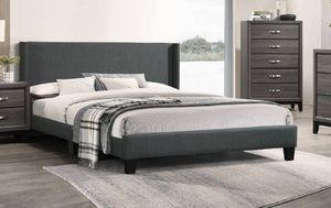 New Fabric Charcoal Queen Platform Bed Frame Only New In Box 🛑 No Mattress - Same Day Local Delivery Available for Sale in Burbank, CA