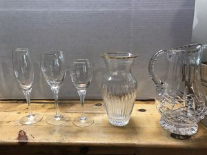 Crystal vase, pitcher & 6 of ea stemware for Sale in Woodinville, WA