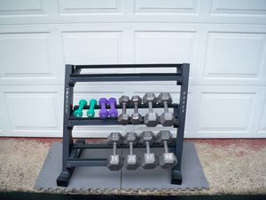 Dumbbells (186 Pounds) & Rack - Set of 30s, 25s, 20s, 10s, 5s & 3s!! for Sale in Delmont, PA