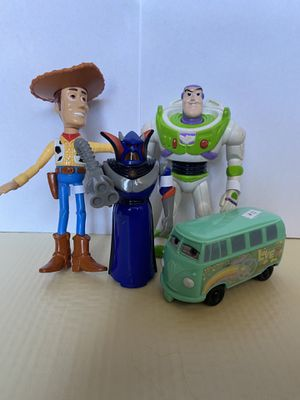 Vintage Toy Story collectibles. Woody, Buzz Lightyear, Emperor Zurg, and Flimore from Cars. for Sale in El Paso, TX