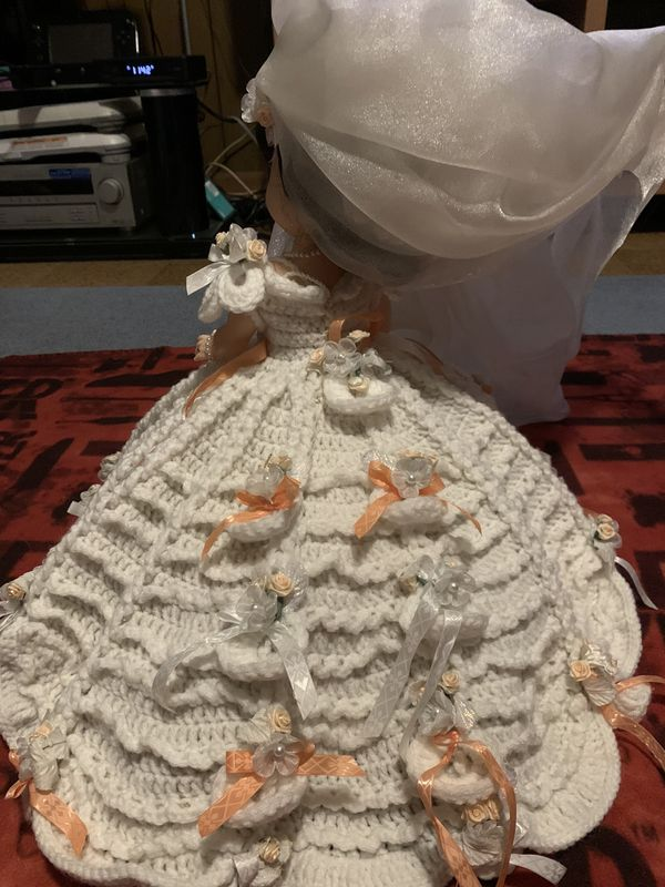 Antique Handmade Crocheted Bridal Doll, Bed Doll