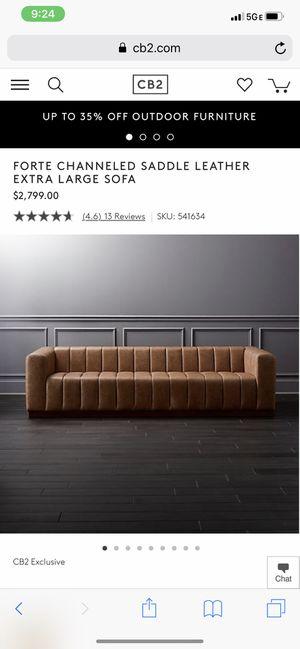 Forte Channeled Saddle Leather Extra Large Sofa for Sale in Washington, DC