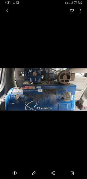Quincy Air Compressor, 50 gallon compressor with air conditioning unit and water traps. Can be wired for 110 or 220. Retails for $2,000 new. for Sale in North Springfield, VA