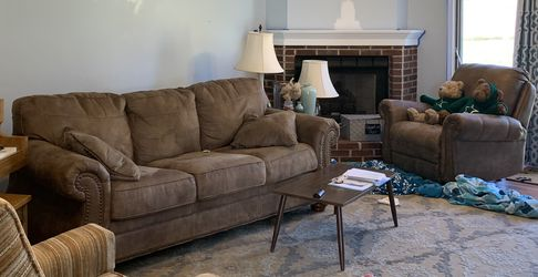 Brown Faux Leather Couch & Recliner Set for Sale in Saint Charles,  MO