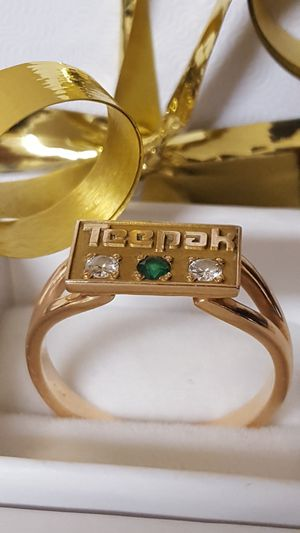 Precious 10k Real Gold, Real Diamonds, and Emerald Vintage Ring, 3.79grs Size 9 for Sale in Covington, KY