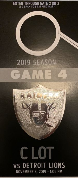 Parking pass C lot for Raiders vs Lions for Sale in Stockton, CA