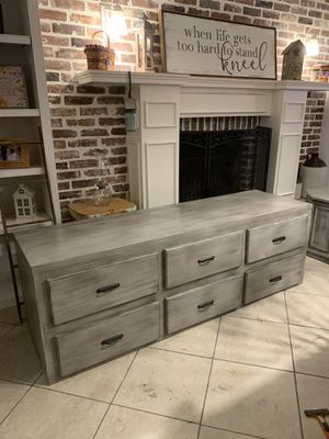 Beautiful Refinished 73.5 inch Rustic Farmhouse Style Low Media Console / TV stand / Entryway Piece for Extra Storage or Shoes! for Sale in Lake Worth, FL