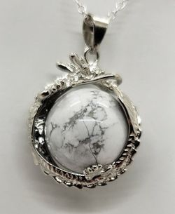 Natural Howlite Silver Dragon Necklace for Sale in Fort Worth,  TX