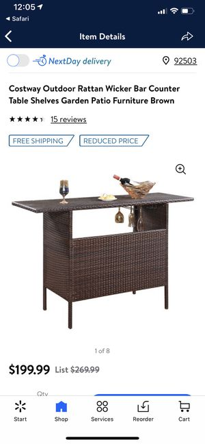 Costway Outdoor Rattan Wicker Bar Counter Table Shelves Garden Patio Furniture Brown! New! $150! for Sale in Riverside, CA