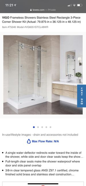 Vigo VG6051STCL48WR Winslow 48.13 in x 79.88 in. Frameless Bypass Shower Enclosure in Stainless Steel and Clear Glass with Right Base for Sale in Union, NJ