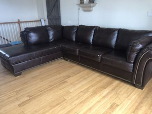 Brown Couch Large w/ Lounger for Sale in Peyton, CO