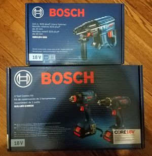 NEW Bosch Hammer Drill Impact Driver / Wrench and SDS Rotary Hammer Drill with 2 4ah Batteries and Charger - BRAND NEW!! for Sale in Nashville, TN