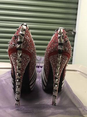 Brand New Zebra Print & Red heel Studded Shoes 6.5 for Sale for sale  Bloomfield, NJ